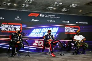 Valtteri Bottas, Mercedes-AMG F1, pole man Max Verstappen, Red Bull Racing, and Lewis Hamilton, Mercedes-AMG F1, in the Press Conference