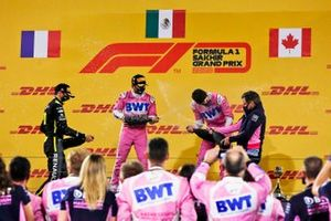 Esteban Ocon, Renault F1, 2nd position, Sergio Perez, Racing Point, 1st position, Lance Stroll, Racing Point, 3rd position, and Andy Stevenson, Sporting Director, Racing Point, on the podium