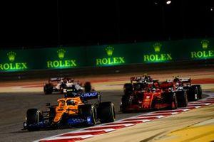 Lando Norris, McLaren MCL35, Sebastian Vettel, Ferrari SF1000, Antonio Giovinazzi, Alfa Romeo Racing C39, Kevin Magnussen, Haas VF-20, and Kimi Raikkonen, Alfa Romeo Racing C39