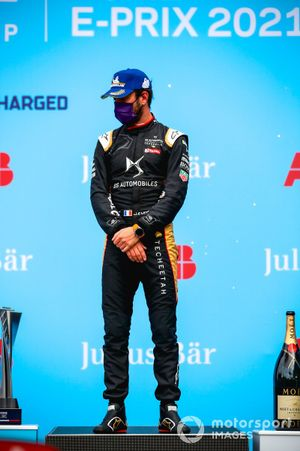 Race winner Jean-Eric Vergne, DS Techeetah celebrates on the podium