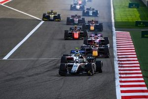Nikita Mazepin, Hitech Grand Prix leads Robert Shwartzman, Prema Racing and Yuki Tsunoda, Carlin