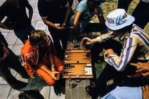 James Hunt playing backgammon between sessions