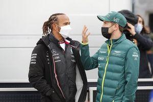Sebastian Vettel, Aston Martin with Lewis Hamilton, Mercedes