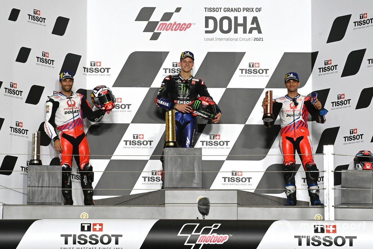 Podio: ganador Fabio Quartararo, Yamaha Factory Racing, segundo lugar Johann Zarco, Pramac Racing, y tercer lugar Jorge Martín, Pramac Racing