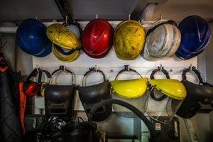 Helmets and PPE aboard the St Helena logistics ship