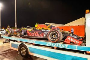 Alex Albon's Red Bull Racing RB16 on the back of a truck