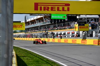 Sebastian Vettel, Ferrari SF90 crosses the line
