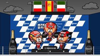 El podio del GP de Francia de MotoGP 2019, por MiniBikers