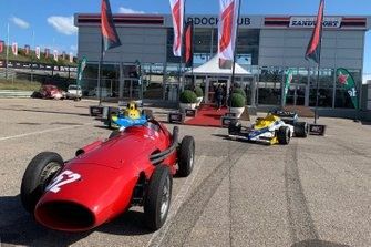 Classic F1 cars in front of press conference area