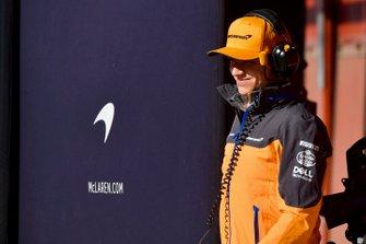 Lando Norris, McLaren in the pit lane