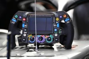 The steering wheel from the Mercedes AMG F1 W10