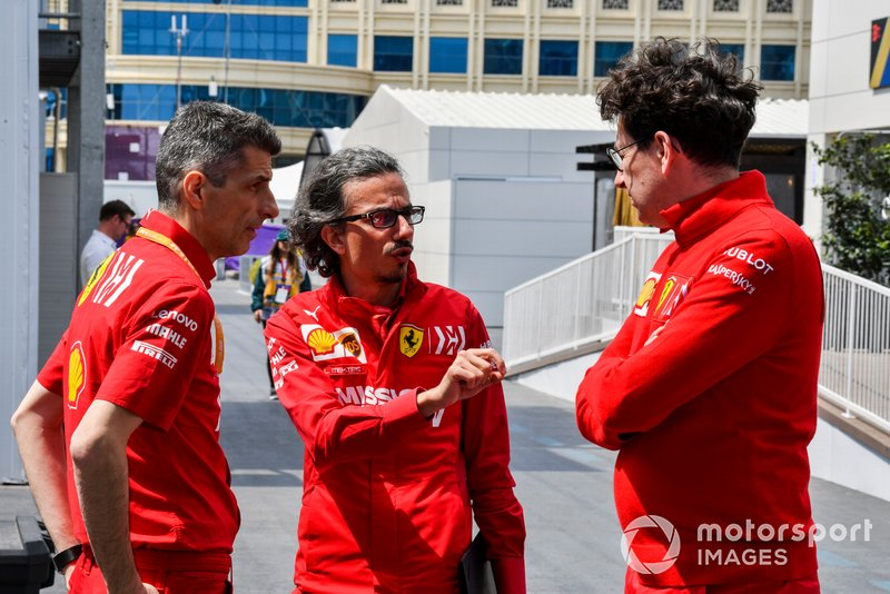 Laurent Mekies, Sporting Director, Ferrari and Mattia Binotto, Team Principal Ferrari