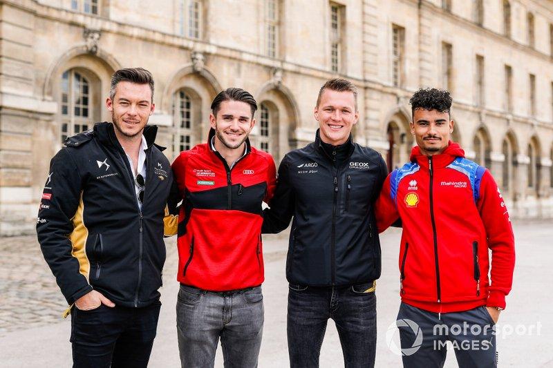Los pilotos alemanes Andre Lotterer, DS TECHEETAH, Daniel Abt, Audi Sport ABT Schaeffler y Pascal Wehrlein, Mahindra Racing.