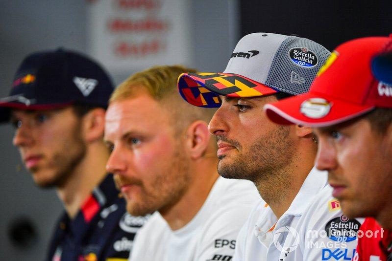 Carlos Sainz Jr., McLaren, Sebastian Vettel, Ferrari, Valtteri Bottas, Mercedes AMG F1 and Pierre Gasly, Red Bull Racing in Press Conference