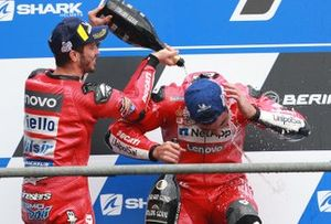 Podium: second place Andrea Dovizioso, Ducati Team, third place Danilo Petrucci, Ducati Team