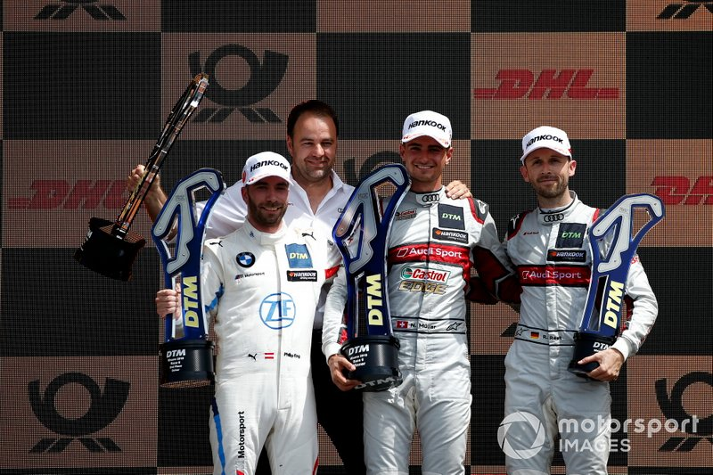 Podium: Race winner Nico Müller, Audi Sport Team Abt Sportsline, second place Philipp Eng, BMW Team RBM, third place René Rast, Audi Sport Team Rosberg