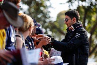 Esteban Ocon, Mercedes AMG F1 signs autographs for fans