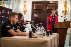 Presenter Nicki Shields speaks with Kevin Magnussen, Haas F1 Team, Guenther Steiner, Team Principal, Haas F1 and William Storey, CEO Rich Energy in Press Conference