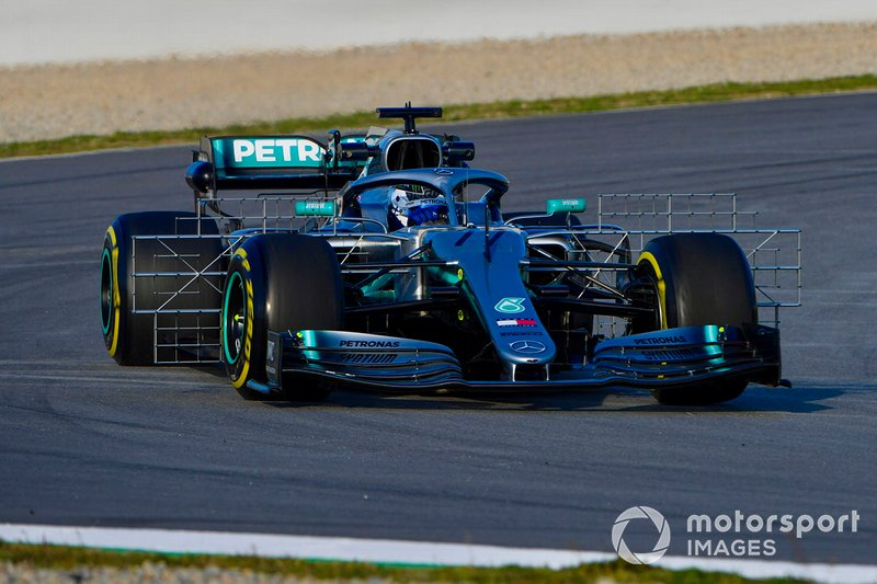 Valtteri Bottas, Mercedes AMG F1 W10, carries a test rig