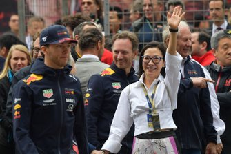 Pierre Gasly, Red Bull Racing, Christian Horner, Team Principal, Red Bull Racing, and actress Michelle Yeoh
