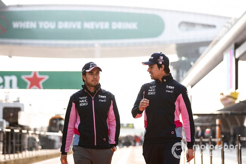 Sergio Perez, Racing Point and Lance Stroll, Racing Point walk down the pit lane