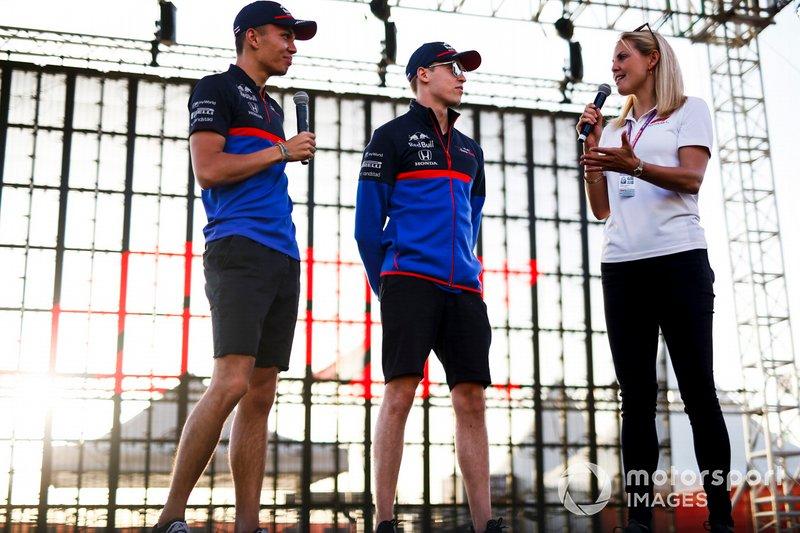 Alexander Albon, Toro Rosso, Daniil Kvyat, Toro Rosso and Rosanna Tennant, presenter