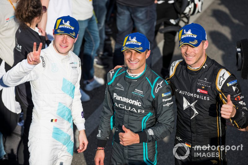 Mitch Evans, Panasonic Jaguar Racing, celebra con Andre Lotterer, DS TECHEETAH, Stoffel Vandoorne, HWA Racelab