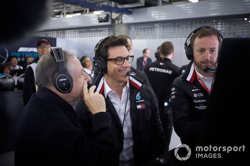 Jean Todt, President, FIA, and Toto Wolff, Executive Director (Business), Mercedes AMG, in the Mercedes garage