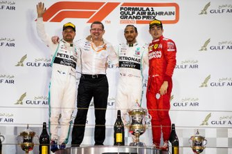 Valtteri Bottas, Mercedes AMG F1, Race Winner Lewis Hamilton, Mercedes AMG F1 and Charles Leclerc, Ferrari celebrate on the podium