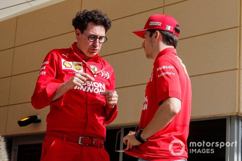 Mattia Binotto, Team Principal Ferrari e Charles Leclerc, Ferrari