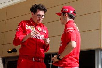 Mattia Binotto, Team Principal Ferrari and Charles Leclerc, Ferrari