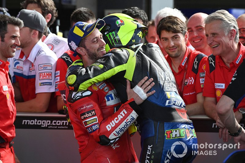 Second place Valentino Rossi, Yamaha Factory Racing, third place Andrea Dovizioso, Ducati Team celebrate in parc ferme