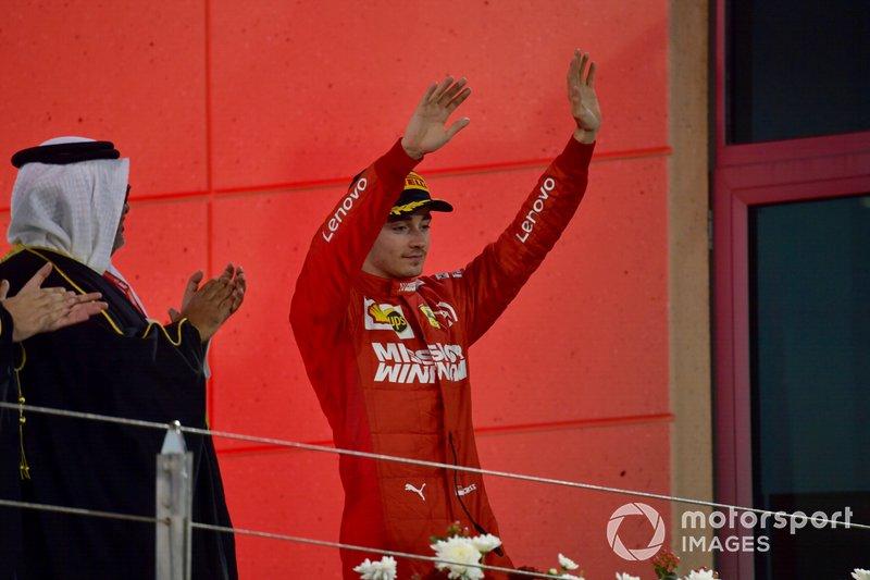 Podio el tercer lugar Charles Leclerc, Ferrari