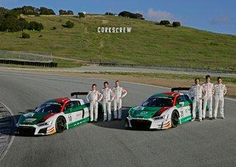 #10 Audi Sport Team WRT Audi R8 LMS GT3 Evo: Dries Vanthoor, Frédéric Vervisch, Christopher Haase, #29 Audi Sport Team Land Audi R8 LMS GT3 Evo: Kelvin van der Linde, Markus Winkelhock, Christopher Mies
