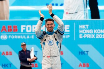 Edoardo Mortara, Venturi Formula E, celebrates on the podium