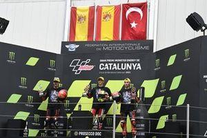Sergio Garcia, Aspar Team Moto3, Jeremy Alcoba, Team Gresini Moto3, Deniz Oncu, Red Bull KTM Tech 3 podium