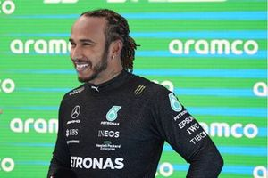 Lewis Hamilton, Mercedes, in Parc Ferme after securing his 100th F1 pole position