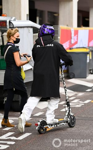 Lewis Hamilton, Mercedes on a scooter