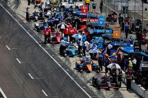 Will Power, Team Penske Chevrolet, Scott Dixon, Chip Ganassi Racing Honda, Alex Palou, Chip Ganassi Racing Honda, Marcus Ericsson, Chip Ganassi Racing Honda, dans la voie des stands