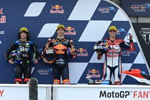 Top 3 after Qualifying: Pole sitter Remy Gardner, Red Bull KTM Ajo, Marco Bezzecchi, Sky Racing Team VR46, Fabio di Giannantonio, Federal Oil Gresini Moto2