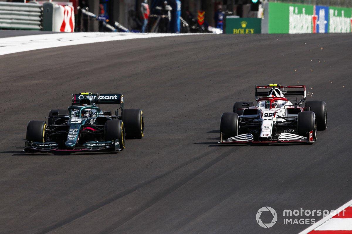 Sebastian Vettel, Aston Martin AMR21, Antonio Giovinazzi, Alfa Romeo Racing C41