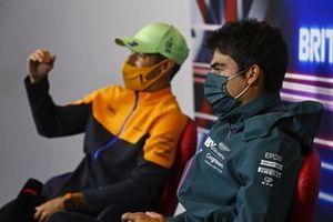 Lance Stroll, Aston Martin, and Daniel Ricciardo, McLaren, in the press conference