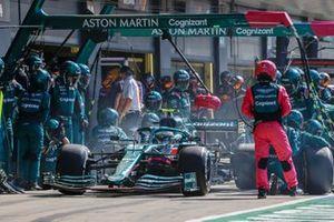 Sebastian Vettel, Aston Martin AMR21, in the pits