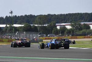 Sergio Perez, Red Bull Racing RB16B, Nicholas Latifi, Williams FW43B