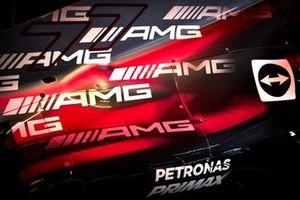 AMG logos on the car of Valtteri Bottas, Mercedes W12