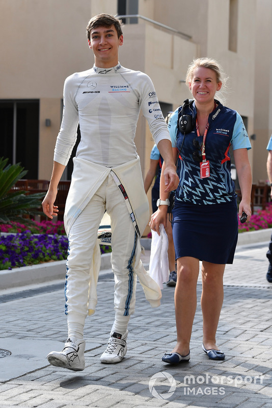 George Russell, Williams Racing and Sophie Ogg, Williams Racing