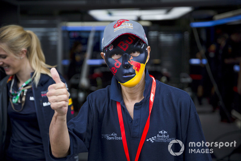 У некоторых даже есть маски в стиле цветов Red Bull Racing