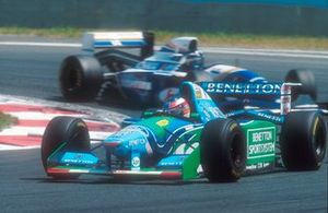 Michael Schumacher, Benetton B194 with Damon Hill, Williams FW16