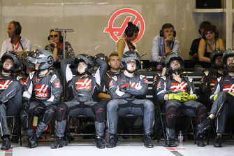 The Haas pit crew in the garage