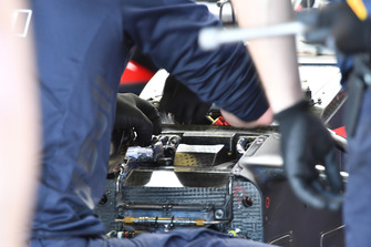 Red Bull Racing RB14 front suspension detail is worked on